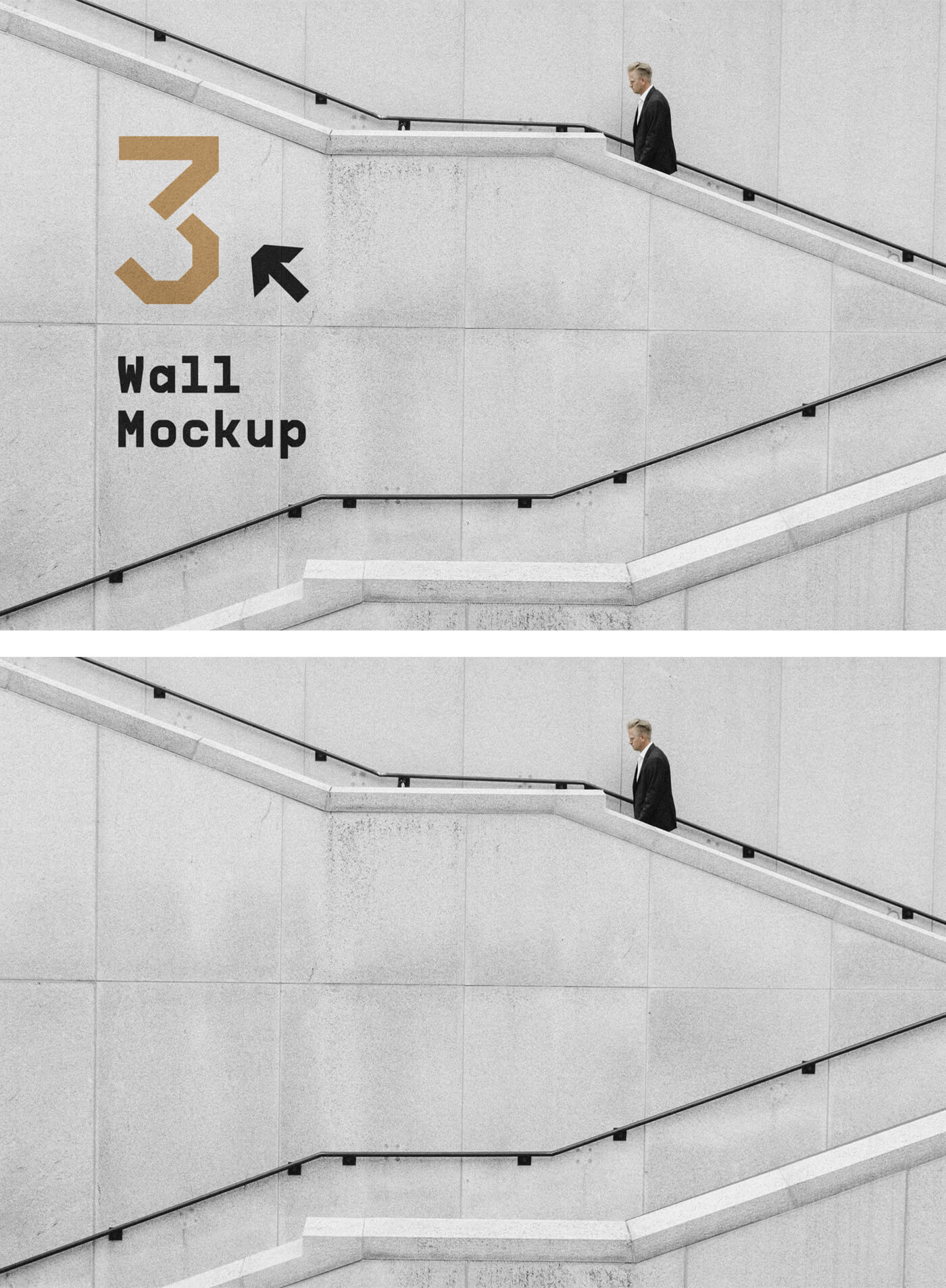 Free Wall with Stairs Mockup PSD Template