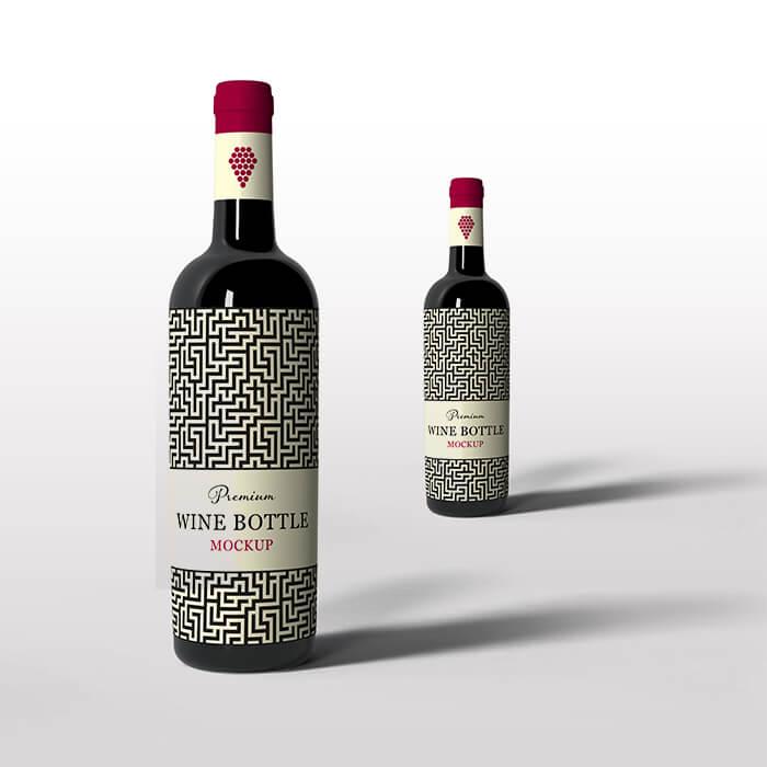 Free Beautiful Wine Bottle Mockup PSD Template