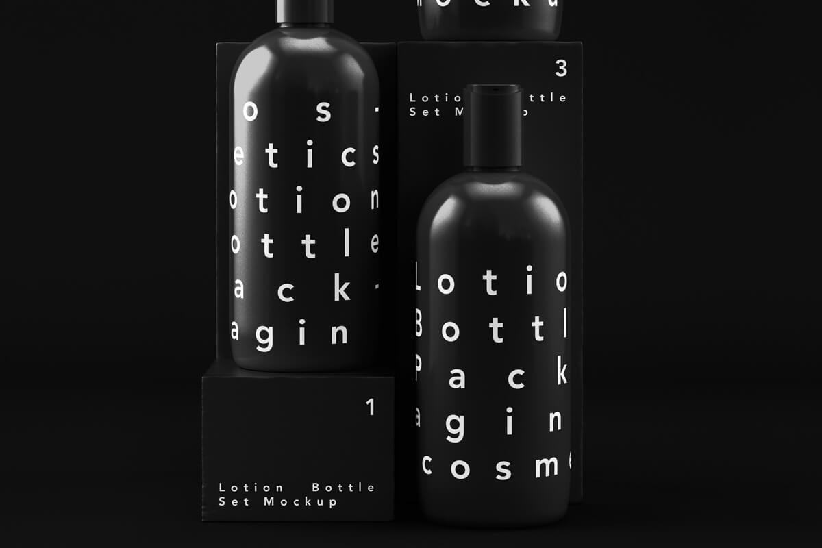 Free Black Bottle Cosmetic Packaging Set Mockup