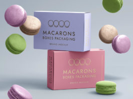Free macarons-boxes-packaging-food-french-branding-graphic-psd-mockup