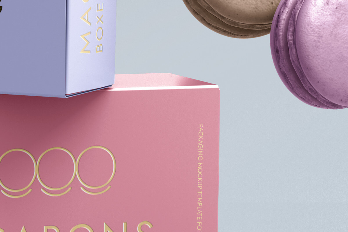 Colorful macarons-boxes-packaging-food-french-branding-graphic-psd-mockup