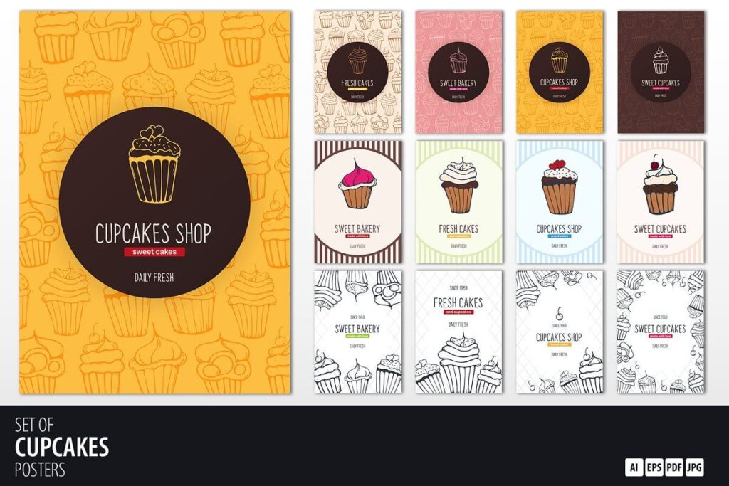 12 Cupcakes Posters