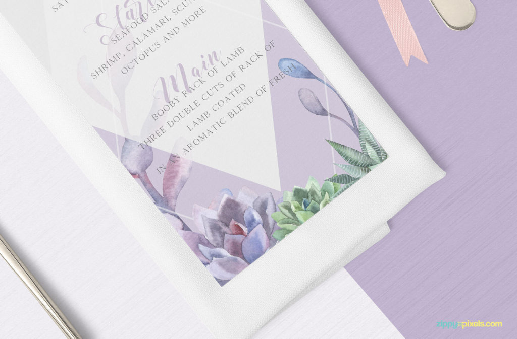 A Colourful menu card Mockup