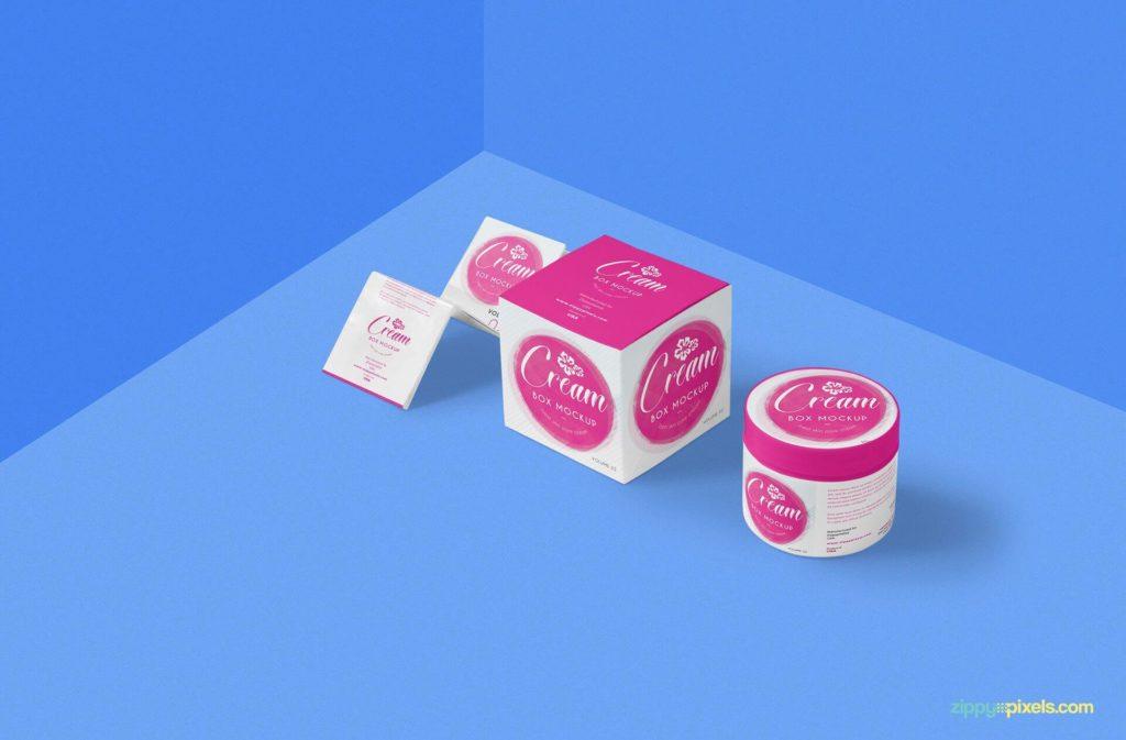 A beautiful set of creame mockup