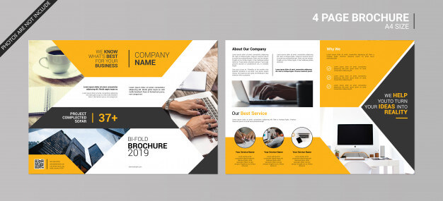 Abstract bi-fold brochure Premium Psd (1)