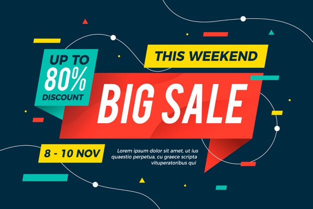 Abstract colorful big sale banner Free Vector (1)