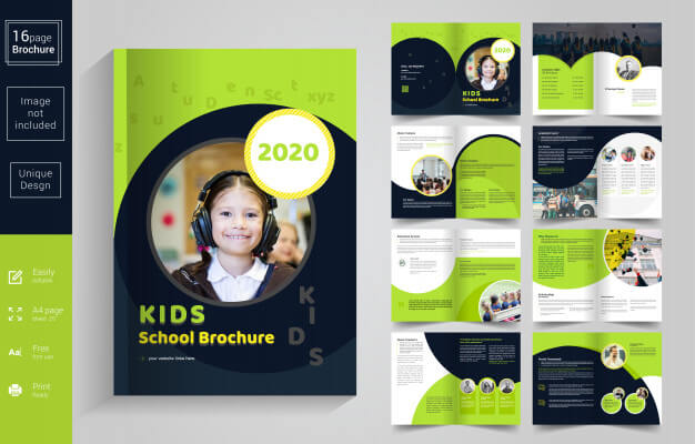 Abstract school kids brochure template Premium Vector