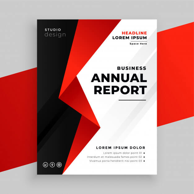 Annual report company business brochure template design Free Vector