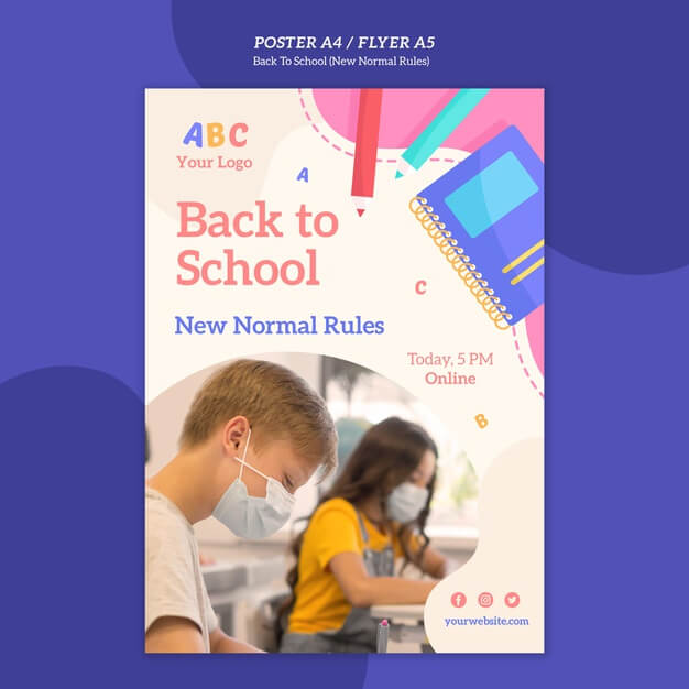 Back to school flyer template Free Psd (1)