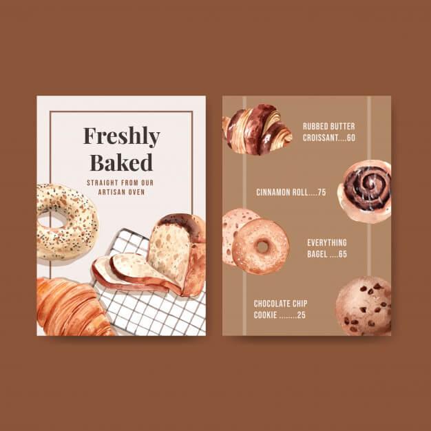 Bakery menu templates Free Vector (1)