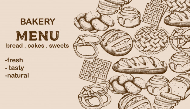 Bakery menu with bread, cakes, sweets and place for text Free Vector (1)