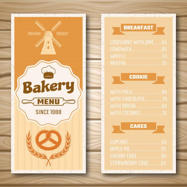 Bakery shop menu Free Vector