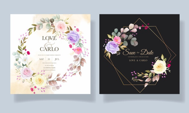 Beautiful roses flower invitation card template designs Free Vector (1)
