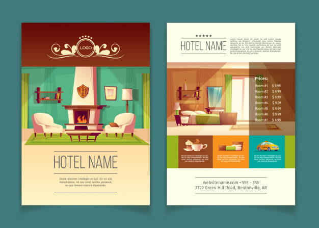 Brochure, advertising leaflet with hotel apartments, rooms with furniture Free Vector