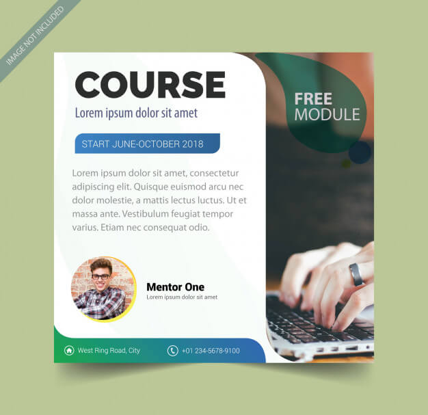 Brochure template for course Premium Vector