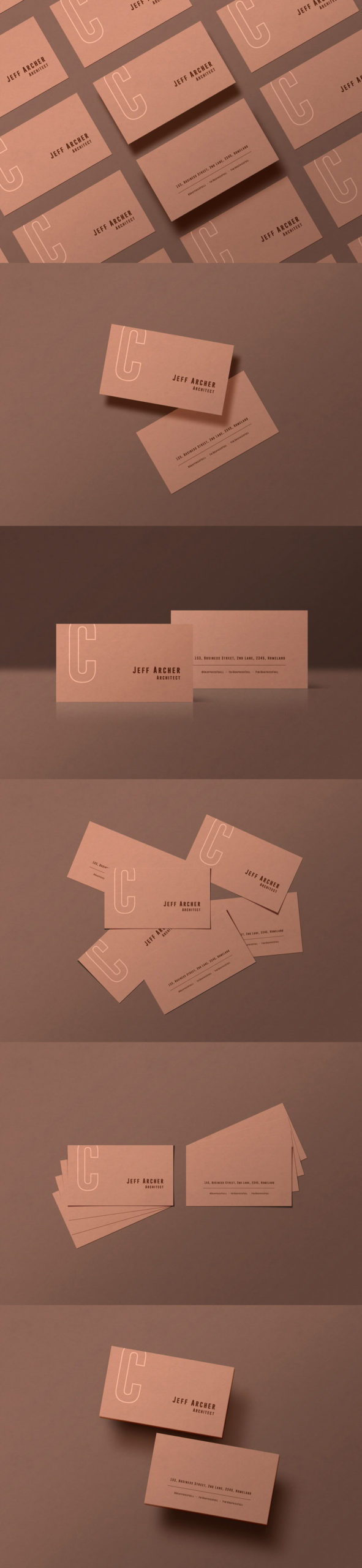 Free Minimalist Business Cards Mockup PSD Templates
