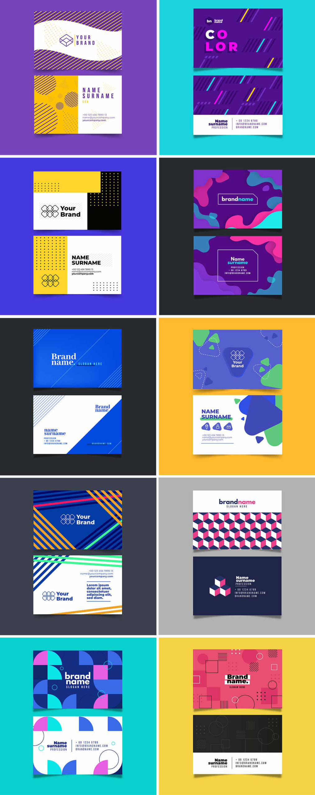 Free Vector Design Business Card Templates