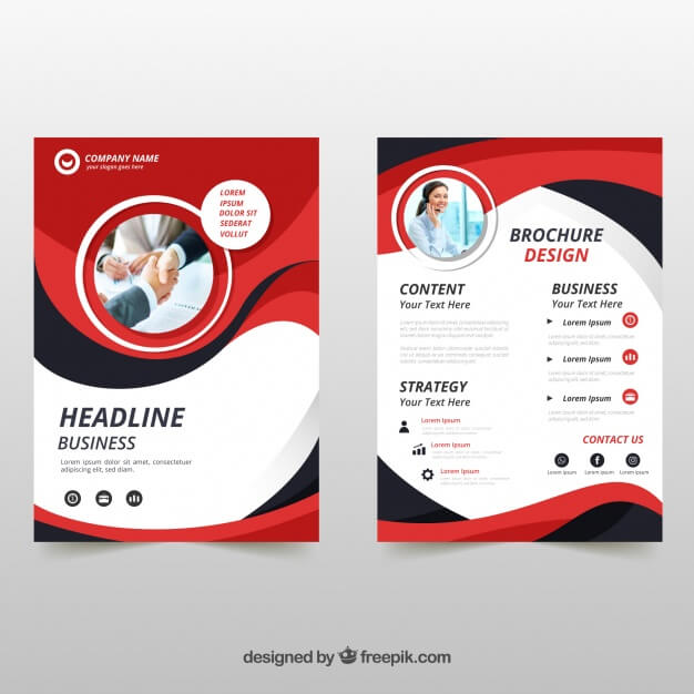 Business brochure in a5 size with flat style Free Vector
