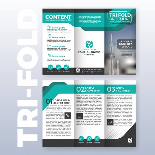 Business tri-fold brochure template design with turquoise color scheme in a4 size layout with bleeds Free Vector (1)
