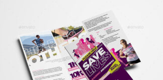 Cancer Benefit Tri-Fold Brochure Template
