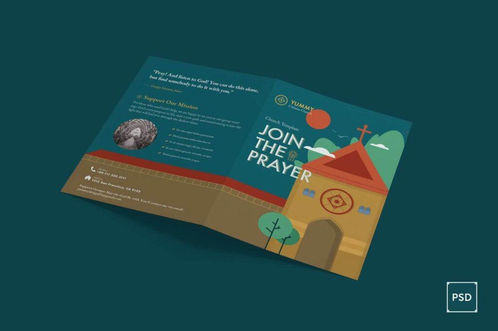 Church Bi-Fold Brochure PSD Template