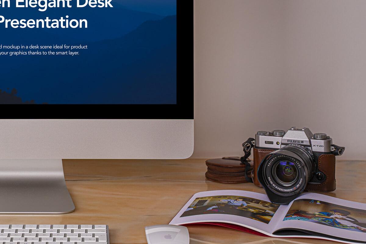 Classic imac-monitor--pro-elegant-desk-scene-presentation-showcase-screen-graphic-mockup-photo-psd