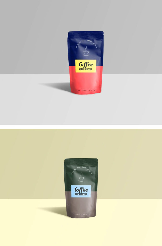 Free Front view Coffee Pouch Mockup Template