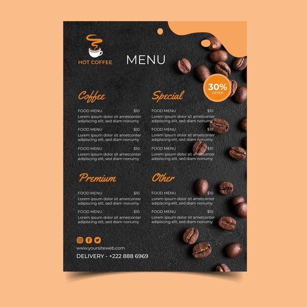 Coffee shop menu template Free Vector (2)