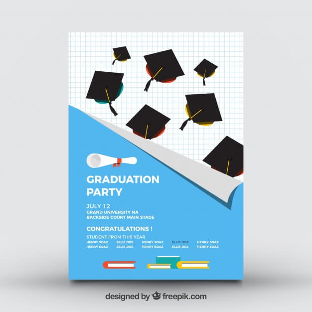 College party brochure with mortarboards Free Vector1