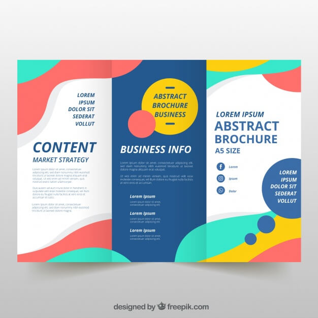 Colorful wavy trifold business flyer Free Vector (1)