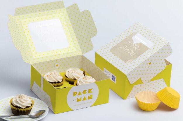 Cupcake box mock up design Premium Psd (1)