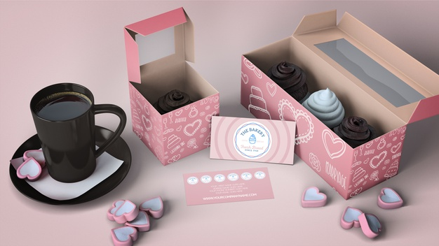 Cupcake packaging and branding mockup Free Psd (1)