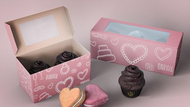 Cupcake packaging and branding mockup Free Psd (4)