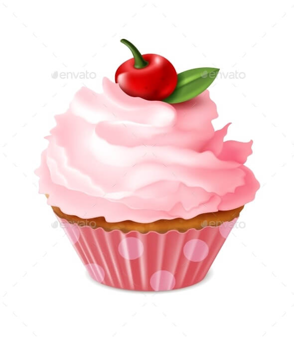 Cupcake. Sweet Homemade Dessert, Cherry Muffin