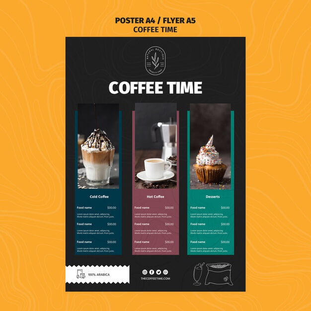 Delicious coffees and lattes menu template Free Psd (1)