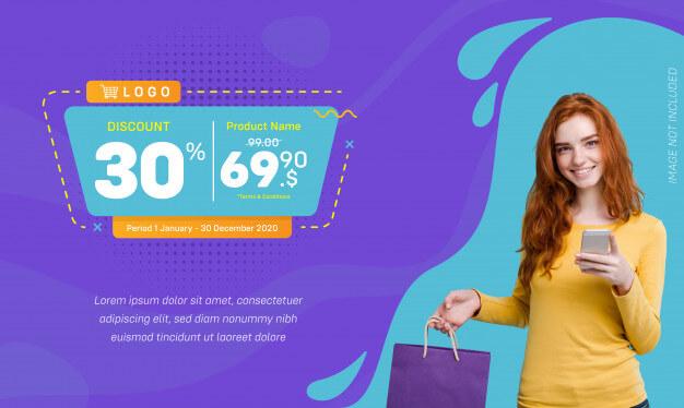 Discount social media banner sale liquid background Premium Vector (1)