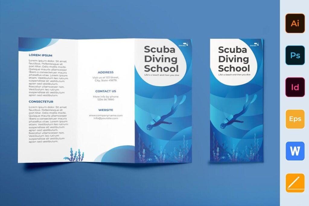 Diving School Brochure Trifold