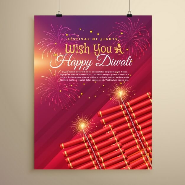 Diwali brochure with fireworks and lights Free Vector