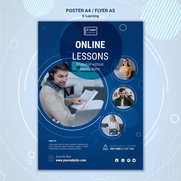 E-learning concept flyer template Free Psd (1)