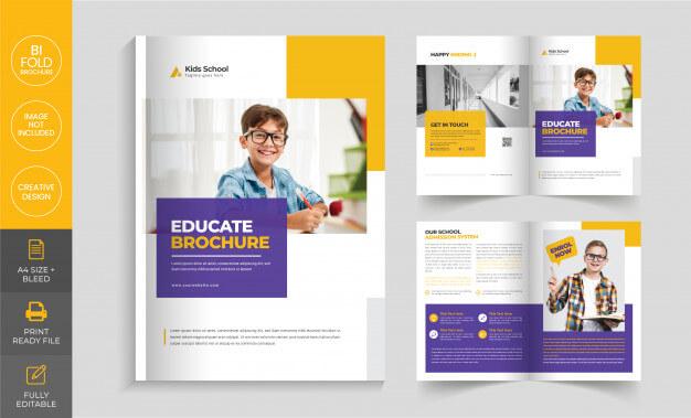 Education company bi-fold brochure template Premium Vector