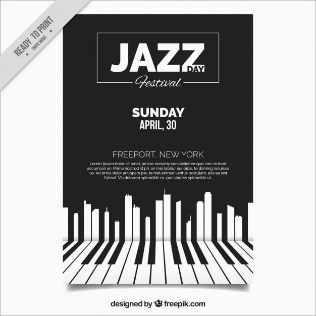Elegant jazz brochure with piano keys Premium Vector