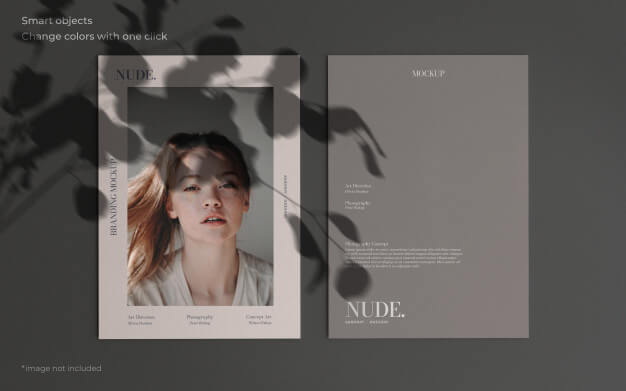 Elegant mockup with two brochures and botanical shadow Free Psd