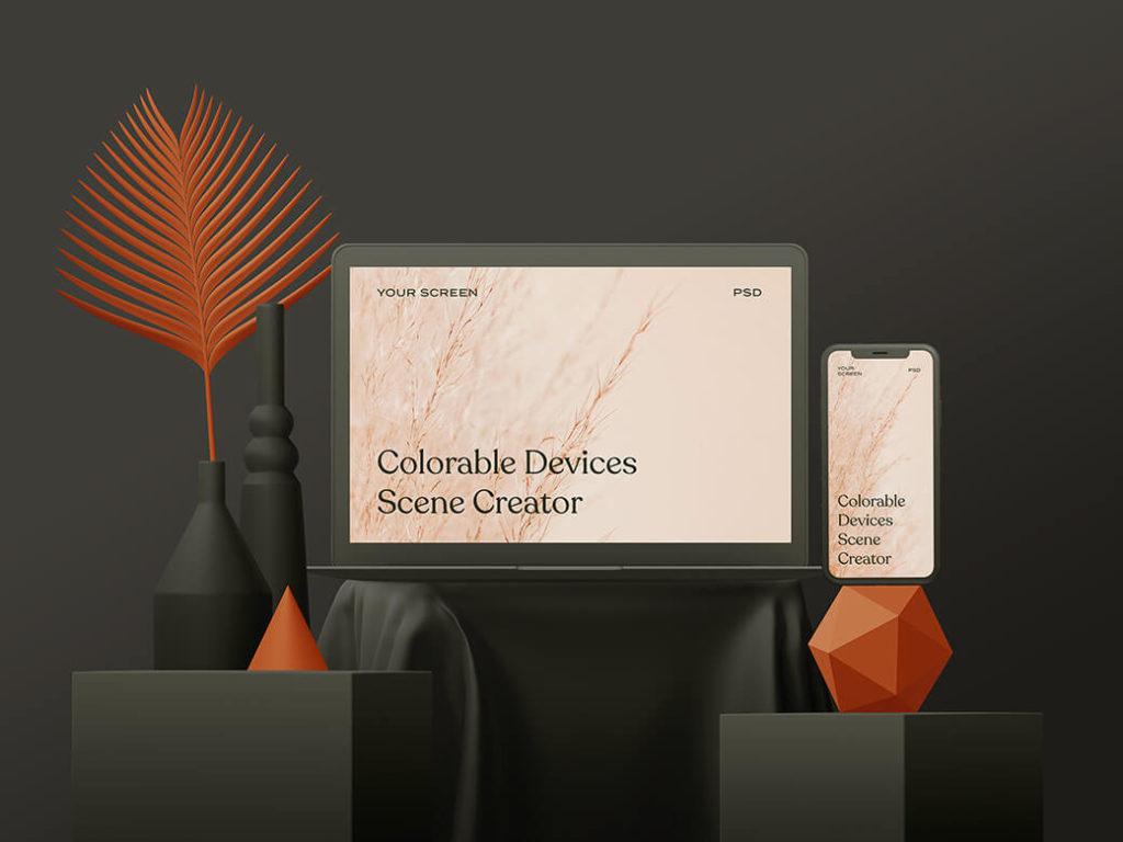 Free Colorable Design Scene Creator PSD Mockup Template