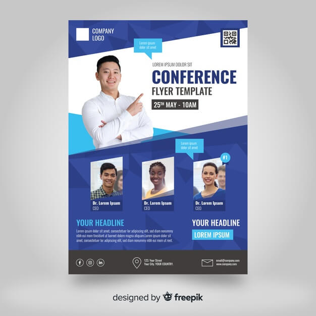 Flat abstract business conference flyer template Premium Vector (1)