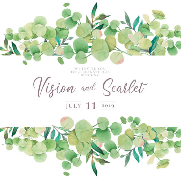 Floral wedding invitation with eucalypt leaves Free Vector (1)