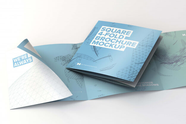 Folded and unfolded square 4 fold brochure mockup Premium Psd (1)