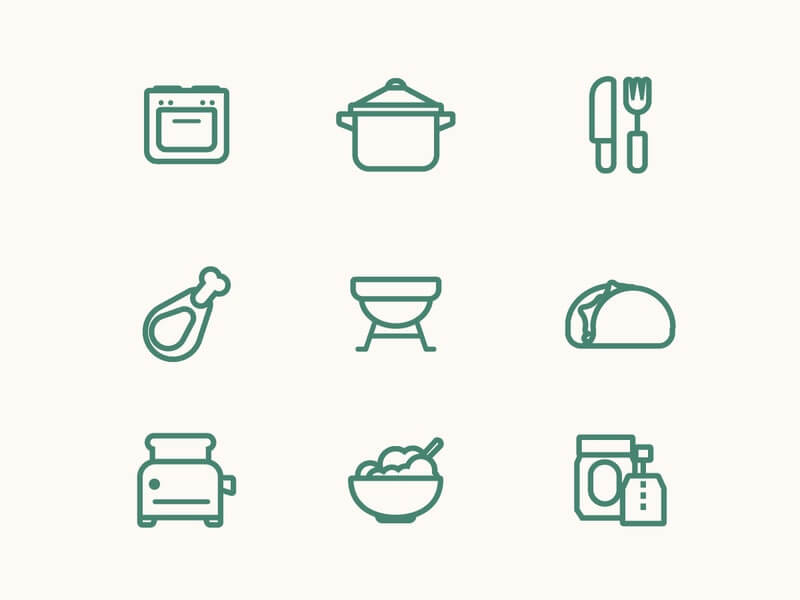 Free Food Vector Line Icon Set