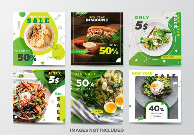 Food social media banner template collection Premium Vector (1)