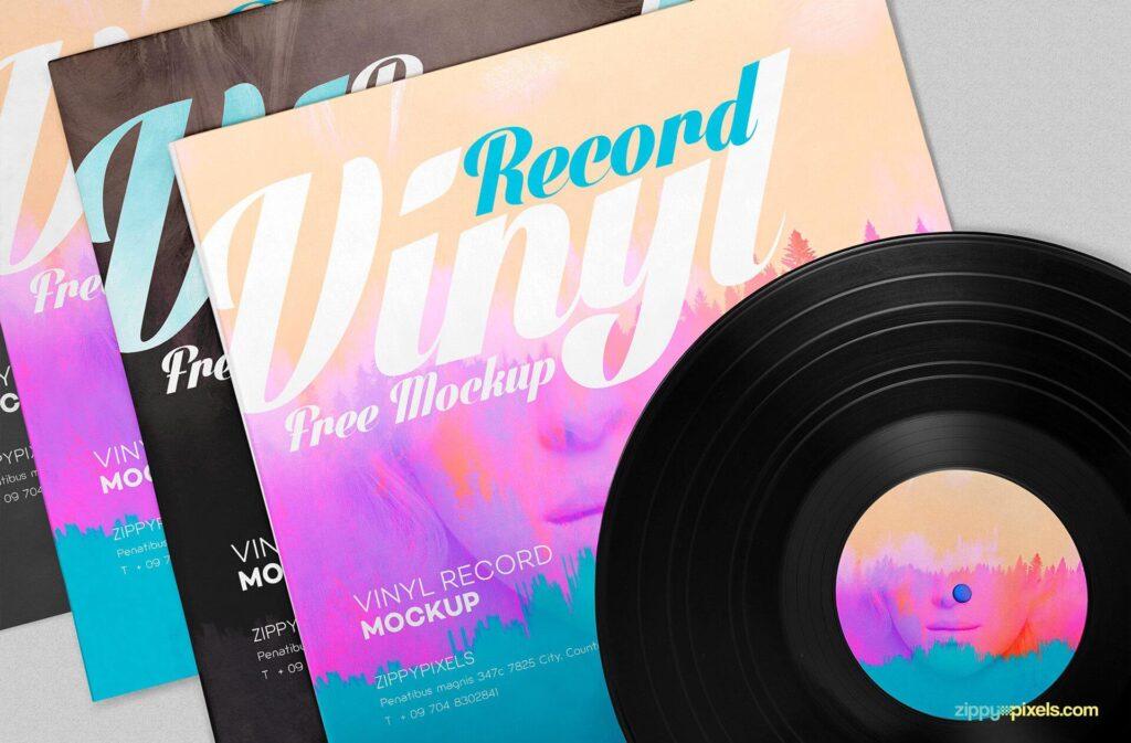 Free Artwork Record Album Mockup PSD Template1
