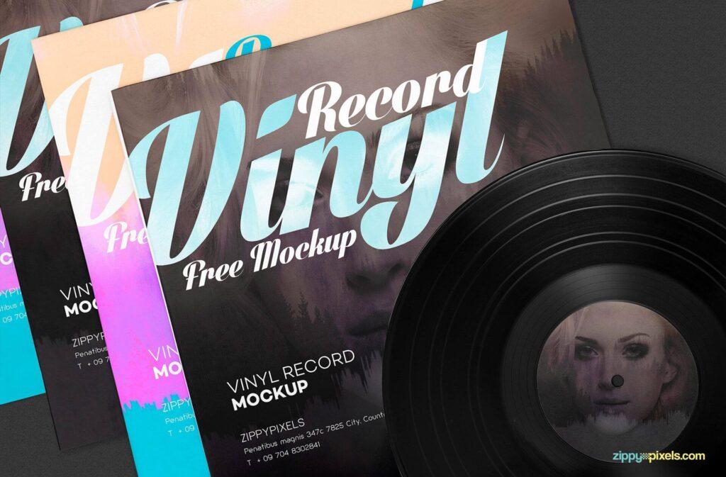 Free Artwork Record Album Mockup PSD Template4